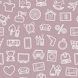Categories of goods, Internet-shop, seamless pattern, gray and pink. Stock Photography