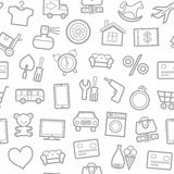Categories Of Goods, Internet-shop, Seamless Pattern, White. Stock Image