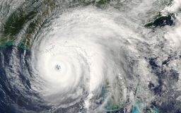 Free Category 5 Super Typhoon From Outer Space View. The Eyewall Of The Hurricane Stock Photos - 157421083