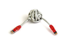 Category 5 twisted pair cable knot Royalty Free Stock Photography