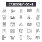 Category line icons, signs, vector set, outline illustration concept. Category line icons, signs, vector set, outline concept illustration royalty free illustration