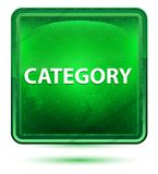Category Neon Light Green Square Button. Category Isolated on Neon Light Green Square Button stock illustration