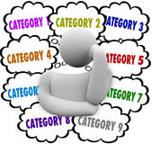 Category Organize Thoughts Thinker Managing Ideas Tasks Jobs. Category word in thought clouds above a thinker to illustrate managing ideas, tasks and jobs into Royalty Free Stock Image