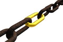 Catena arrugginita con il collegamento dorato Immagini Stock Libere da Diritti