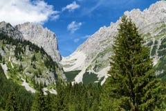 Catena austriaca di Wilder Kaiser della destinazione di viaggio del tor di Ellmauer delle alte montagne della catena montuosa, Ti Fotografia Stock Libera da Diritti