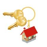 Catena chiave con la casa; oncept della residenza Fotografia Stock