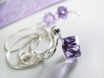 Catena d'argento con il pendente di lila Immagini Stock Libere da Diritti