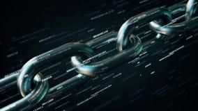 Catena del metallo con molti numeri binari Animazione loopable concettuale 3D di tecnologia di Blockchain stock footage