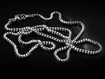 Catena dell'argento delle signore sul collo Fotografia Stock Libera da Diritti