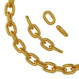 Catena dell'oro isolata su fondo bianco, rappresentazione 3d Fotografia Stock Libera da Diritti