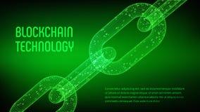 Catena di blocco Valuta cripto Concetto di Blockchain catena del wireframe 3D con il codice digitale Modello editabile di Cryptoc Fotografia Stock