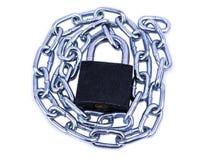 Catena di Chrome con una serratura. isolato su fondo bianco Immagini Stock