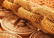 Catena di Digital dei numeri collegati 3D e di Bitcoins illustrazione di stock