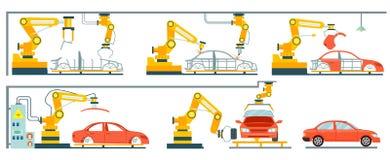 Catena di montaggio automobilistica robot astuta Fotografia Stock Libera da Diritti