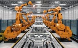 Catena di montaggio del robot nella fabbrica dell'automobile illustrazione di stock