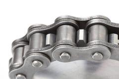 Catena a maglia del metallo e ruota dentata Immagine Stock