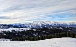 Catena montuosa ad ovest di Dachstein del paesaggio di inverno, Austria Fotografie Stock Libere da Diritti