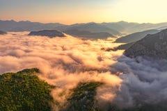 Catena montuosa del Montenegro - antenna Fotografie Stock Libere da Diritti