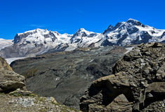 Catena montuosa delle alpi della pennina Fotografie Stock