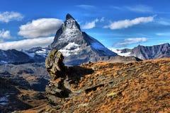 catena montuosa di panorama vicino al Cervino Fotografia Stock