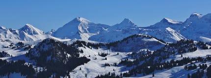 Catena montuosa innevata nel Bernese Oberland Fotografia Stock Libera da Diritti