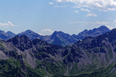 Catena montuosa nelle alpi di Allgäu in Baviera Fotografia Stock Libera da Diritti