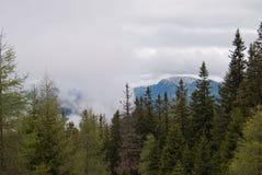 Catena montuosa nuvolosa Fotografia Stock