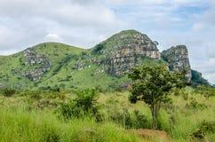 Catena montuosa verde rocciosa con erba fertile in priorità alta nel paesaggio in Angola del Nord, Africa Fotografie Stock