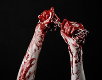 Catena sanguinosa della tenuta della mano, catena sanguinosa, tema di Halloween, fondo nero, isolato Fotografie Stock