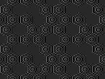 catena trasversale rotonda della pagina di esagono di carta scuro di arte 3D illustrazione vettoriale