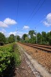 Catenary av ett järnväg spår Arkivbild
