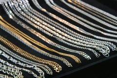 Catene dell'argento e dell'oro Fotografia Stock Libera da Diritti