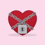 Catene di serratura del cuore Fotografia Stock Libera da Diritti
