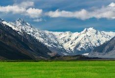 Catene montuose e paesaggio del campo di erba verde Immagini Stock