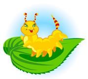 Catepillar. The cheerful caterpillar creeps on a leaf Royalty Free Stock Image
