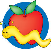 Catepillar and Apple. Yellow catepillar with a red apple on a blue circle background Royalty Free Stock Photography