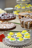 Catered buffet table of delicious desserts. Buffet table with attractive presentation of pies,cakes and cupcakes for dessert after dinner Stock Photography