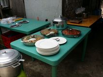 Catered Lunch. A variety of dishes were provided for an outdoor gathering Stock Photography