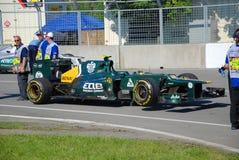 Caterham laufendes Auto in 2012 F1 kanadisches großartiges Prix lizenzfreies stockfoto