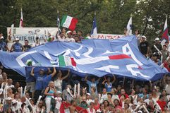 Caterina Giacchetti fans club. Italians supporters in LEN Swimming  Budapest Championships 2010 Stock Photography