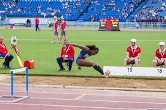 Caterine Ibargüen. Representant of Colombian at triple jump saluting the public on Diamond League in Rome, Italy in 2016 stock photo