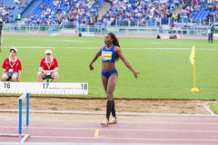 Caterine Ibargüen. Representant of Colombian at triple jump saluting the public on Diamond League in Rome, Italy in 2016 stock photos