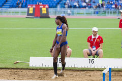 Caterine Ibargüen. Representant of Colombian at triple jump saluting the public on Diamond League in Rome, Italy in 2016 royalty free stock photography