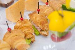 catering мини закуски овоща рыб мяса канапе стоковые фото