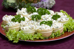Catering -. Russian salad mix with mayonnaise in canape Royalty Free Stock Photography