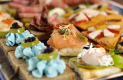 Catering. Appetizer with pork meat and plum Royalty Free Stock Images