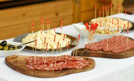 Catering, assorted meats, cheese and sausages Stock Photography