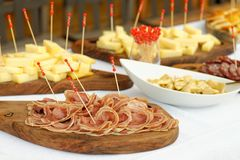 Catering, assorted meats, cheese and sausages Royalty Free Stock Photography