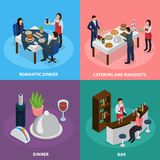 Catering Banquet Isometric Concept. Catering service concept 4 isometric icons square with banquet buffet bar engagement romantic dinner isolated vector Royalty Free Stock Image