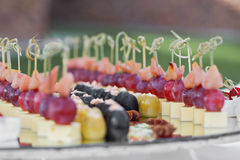 Catering banquet table with baked food snacks, sandwiches, cakes, cups and plates, self serve, open buffet dinner Stock Photos